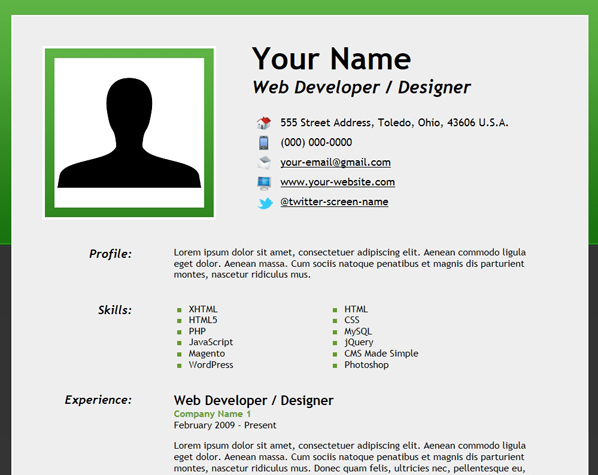 30+ Free HTML Resume Template Collection - XooThemes