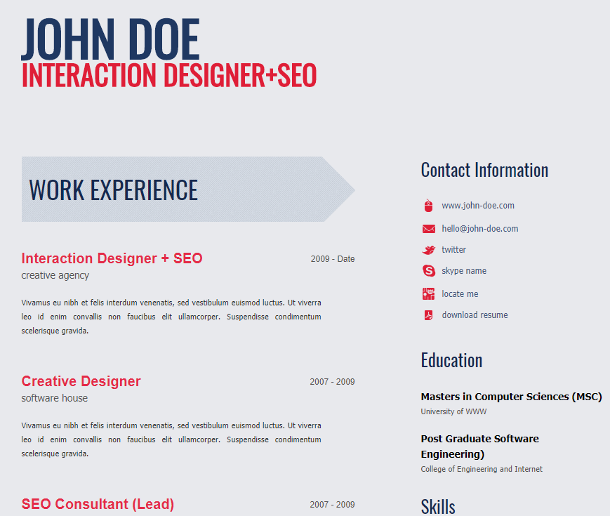 30 Free HTML Resume Template Collection